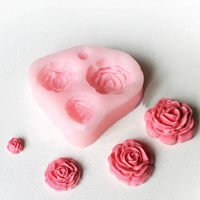 Силиконова форма за украса на торти - рози 1