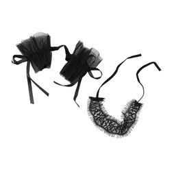 Krajkový set pout a pásky přes oči v černé barvě