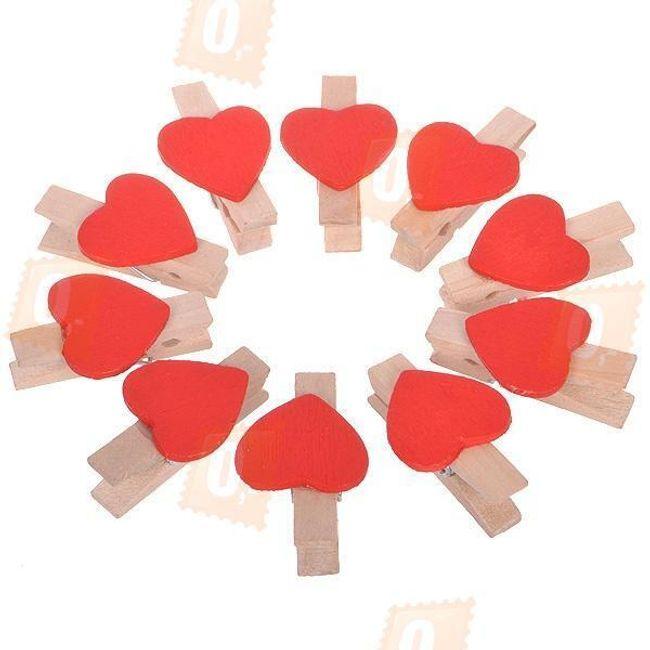 Dekoratív fa csapok díszítő szívekkel - 10 darab 1
