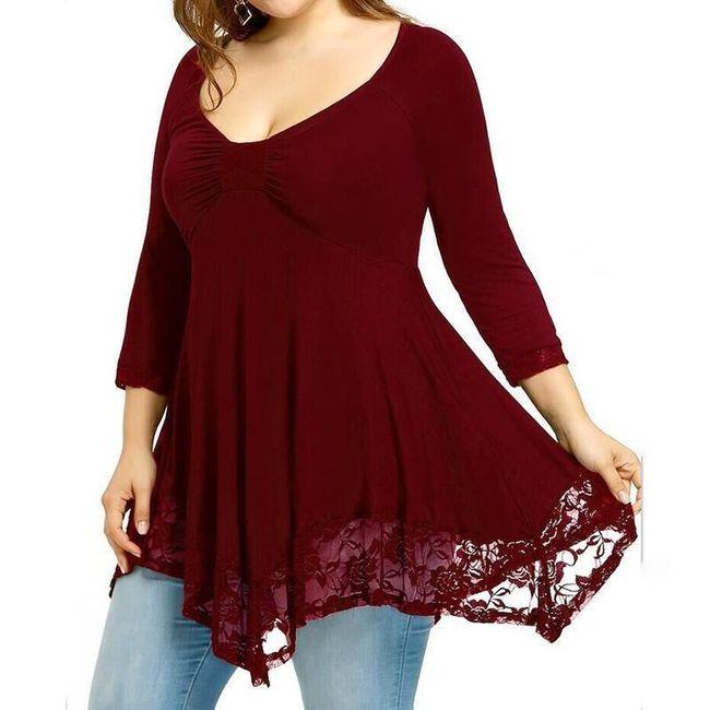 Ženska majica sa čipkom za punije - 4 boje 1