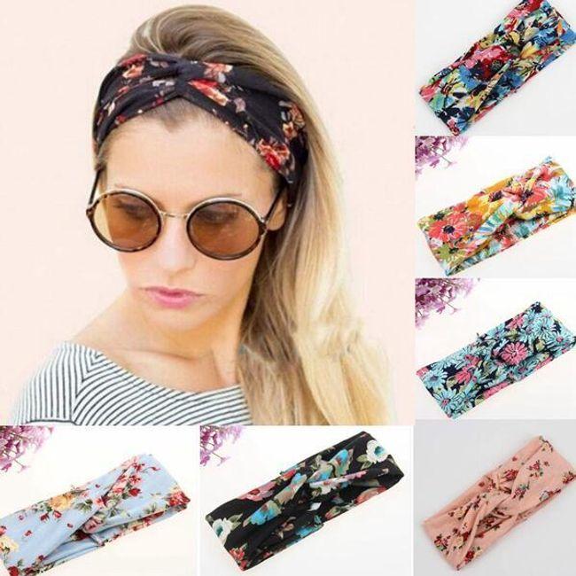 Текстильная повязка на голову с цветочным мотивом 1