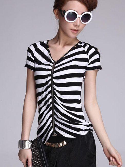 Tričko na ZIP s ozdobnými rukávky 1