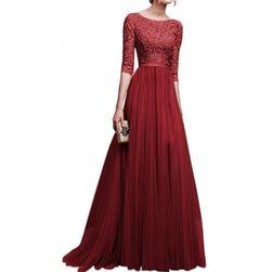 Длинное вечернее платье с рукавом три четверти - 8 расцветок