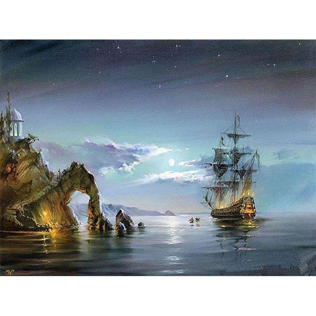 DIY obraz s nočním mořem 1
