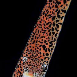 Hedvábná ručně malovaná kravata Gepard