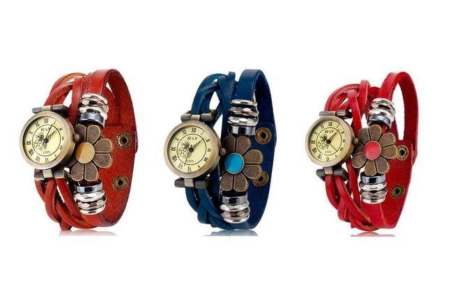 Retro hodinky s květinou - na výběr ze 3 barev 1