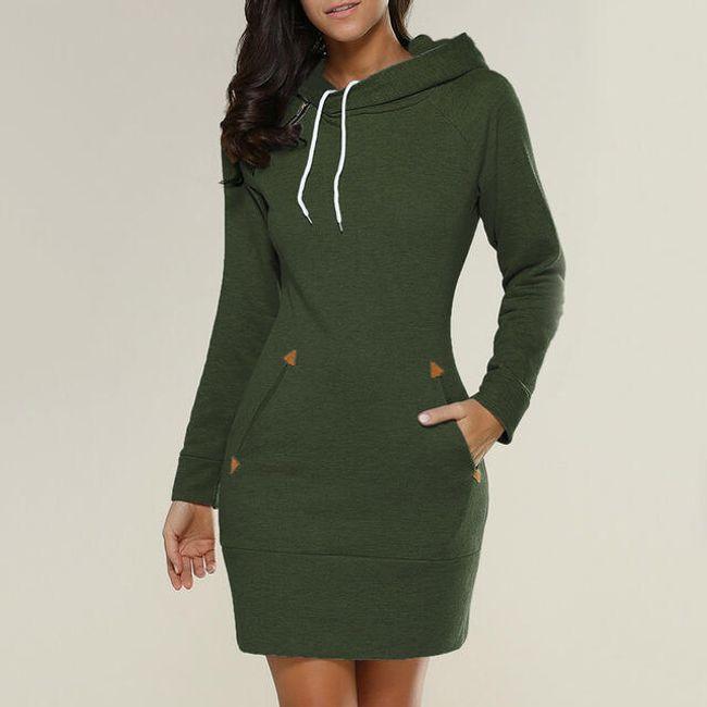 Mikinové šaty s kapucí a kapsami - Zelená - velikost č. 3 1