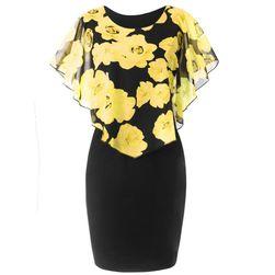 Dámske šaty Ericka v plus size veľkostiach-Žltá-L