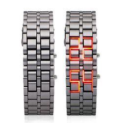 Стилен LED часовник за китка - сребърен цвят