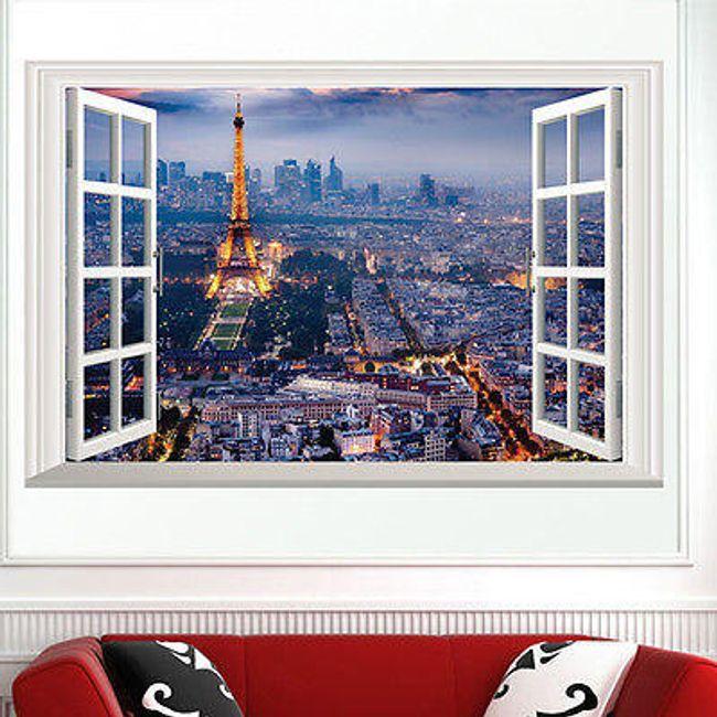 3D fali matrica  - Kilátás a kivilágított Párizsra 1