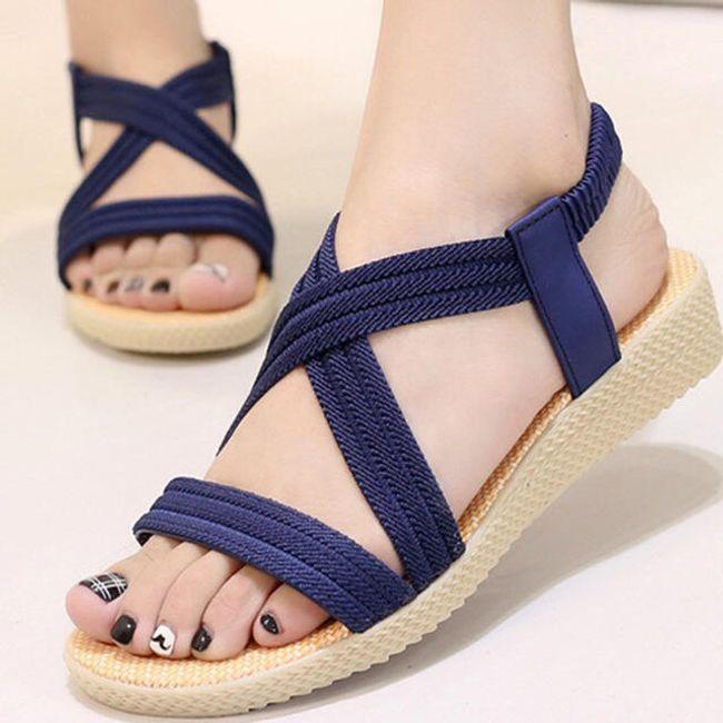 Sandály v gladiátorském stylu - Modrá-42 1