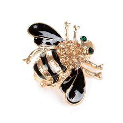 Broșă în formă de albină decorată cu pietre