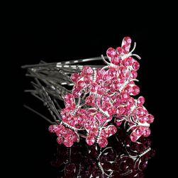 Pillangókristály kristályokkal - 20 darab - 8 színben