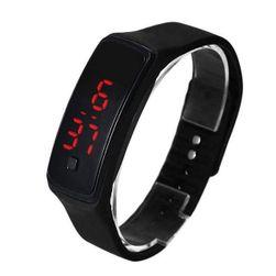 Moderan silikonski sat za žene i muškarce - crna boja