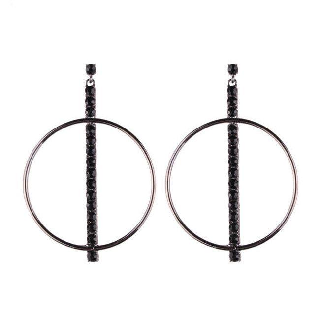 Kruhové náušnice zdobené kamínky - 3 barvy 1