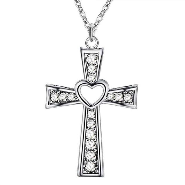 Náhrdelník s křížem s kamínky 1