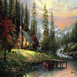 Bezrámový nedokončený obraz 40 x 50 cm - Chatička v horách