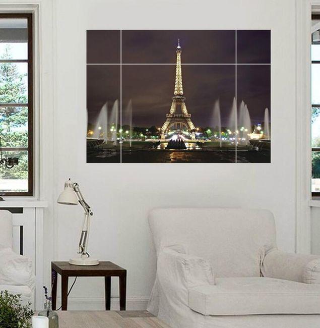 Autocolant 3D pentru perete - Turnul Eiffel luminat 1