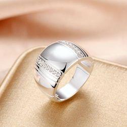 Stylový masivní prsten - stříbrná