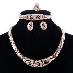 Bogaty komplet biżuterii w złotym kolorze