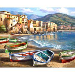 DIY slika u boji - čamac na plaži