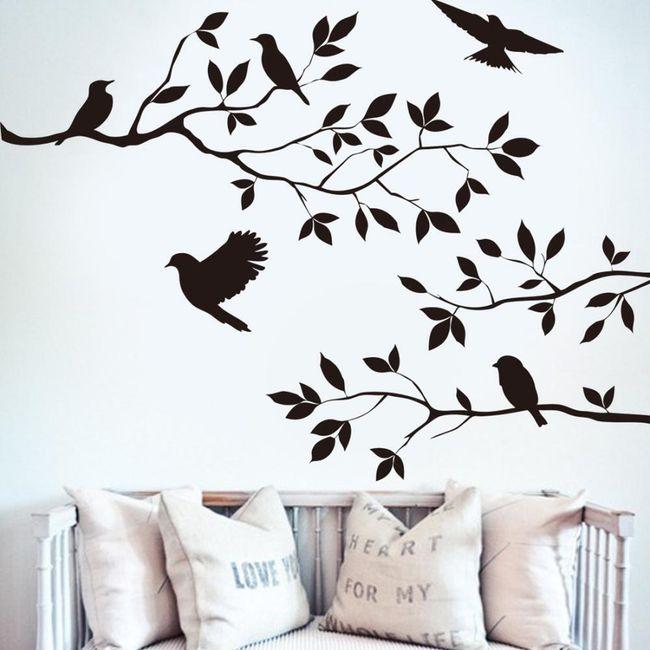 Nalepka - veja s pticami 1
