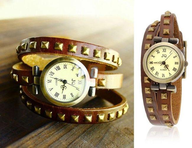 Dámské analogové hodinky s náramkem z hovězí ušně 1