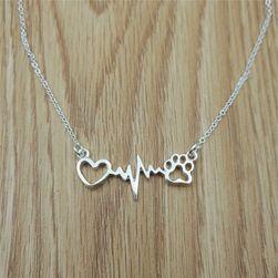 Женское ожерелье- сердце, пульс и лапка