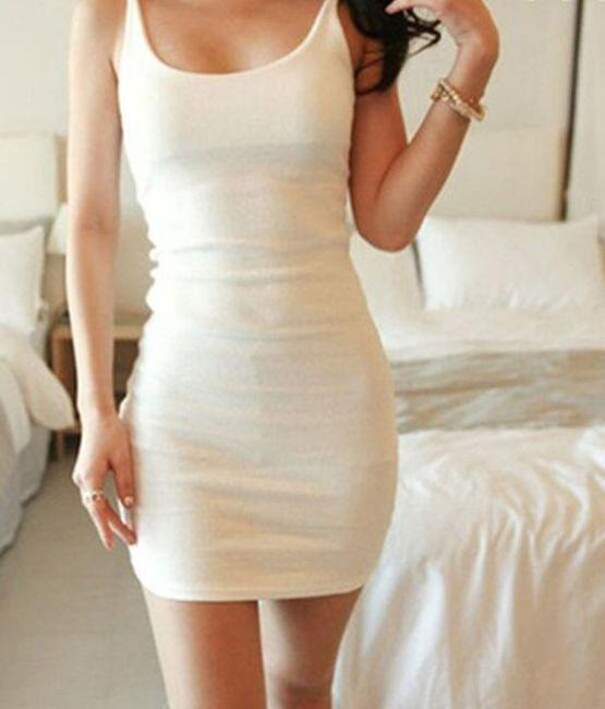 Dámské šaty přilnavé - špagetová ramínka - bílé, vel. 3 1
