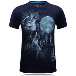 Originální tričko s potiskem vyjících vlků na měsíc
