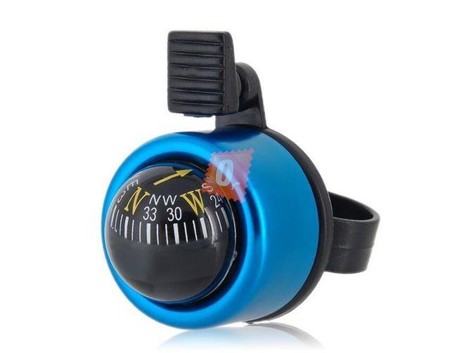 Nerezový zvonek na kolo s kompasem modrý 1
