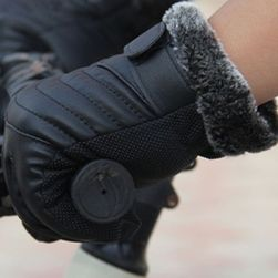 Koženkové rukavice pro pány - černá barva