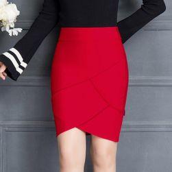 Pouzdrová sukně s vysokým pasem - Červená-velikost č. 4