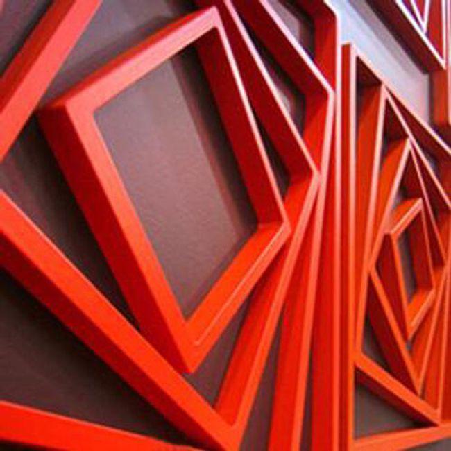 5 sztuk drewnianych 3D dekoracji na ścianę w kształcie kwadratu - 3 kolory 1
