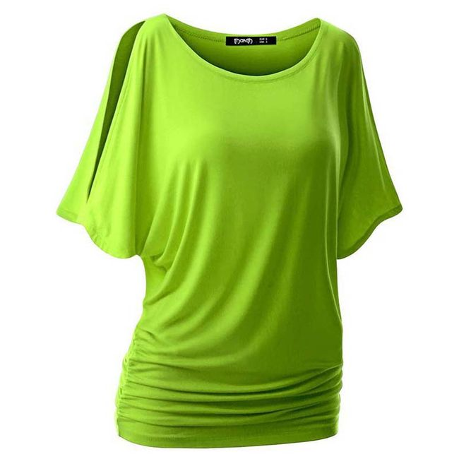 Dámské triko s otvory na ramenou v mnoha barvách - Zelená, velikost M/L 1