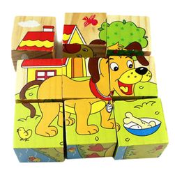 Cuburi din lemn cu animale pentru copii