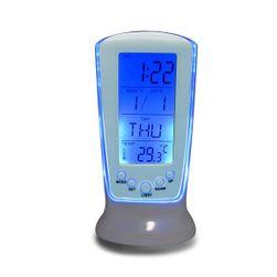 Asztali ébresztőóra hőmérővel és órával