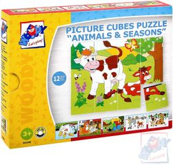 WOOD Cubus 3x4 sezony, zestaw kostek ze zwierzętami 12szt  SR_DS16152855