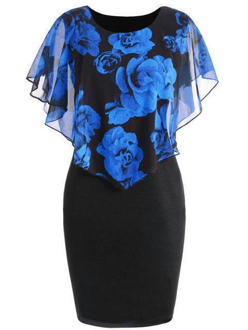Dámské šaty Ericka v plus size velikostech - Modrá-XL 1