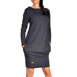 Jednostavna ženska haljina dugih rukava - 3 boje