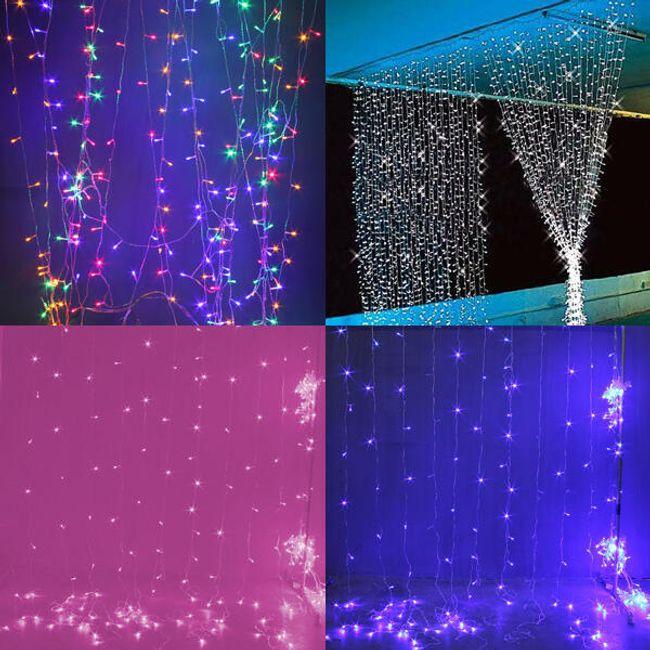 Zasłona ze światełkami LED 3 x 3 m - kilka kolorów 1