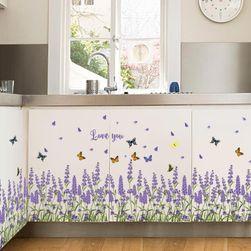 Настенная наклейка - Лавандовое поле с бабочками