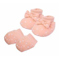 Bawełniane kapcie i rękawiczki dla niemowląt RW_set-nicol-rainbow