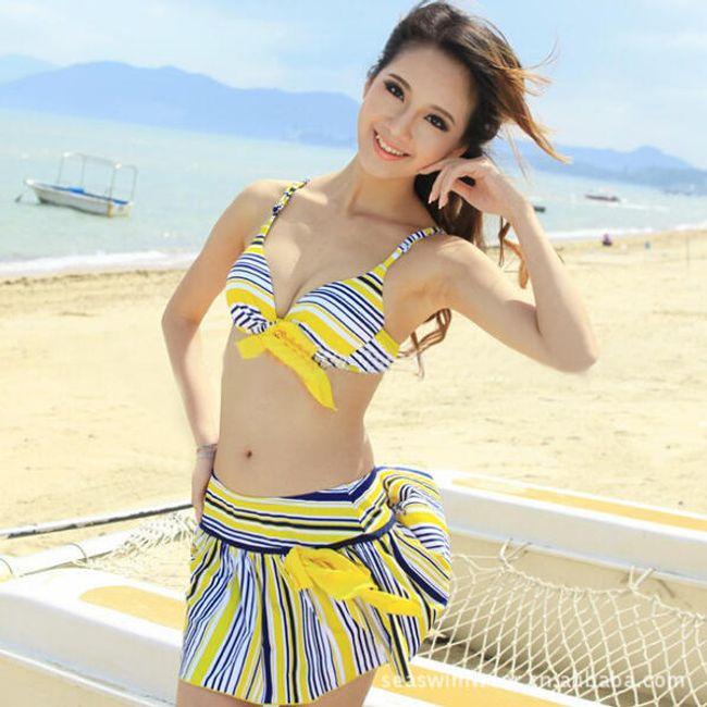Proužkované dvojdílné plavky se sukní 1