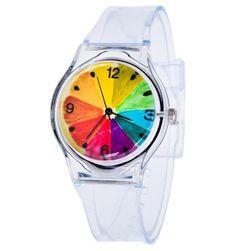 Przezroczysty zegarek z kolorowymi motywami