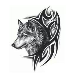 Переводная татуировка -Волк и орнамент Tribal