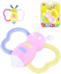 Baby chrastítko včelka pastelové různé barvy pro miminko plast SR_661700
