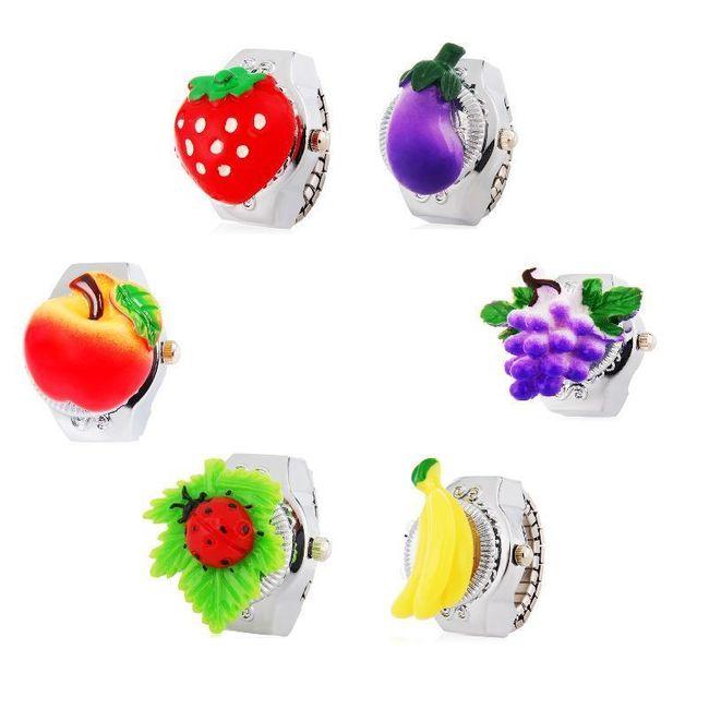 Prstýnkové hodinky s motivy ovoce a zeleniny 1