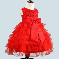 Dívčí šaty s bohatou sukní a velkou mašlí - 5 barev
