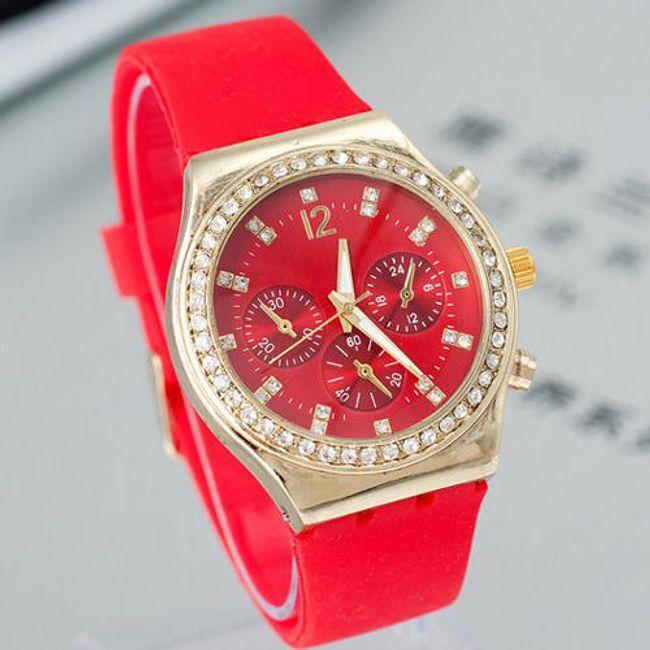 Silikonové červené hodinky s kamínky 1
